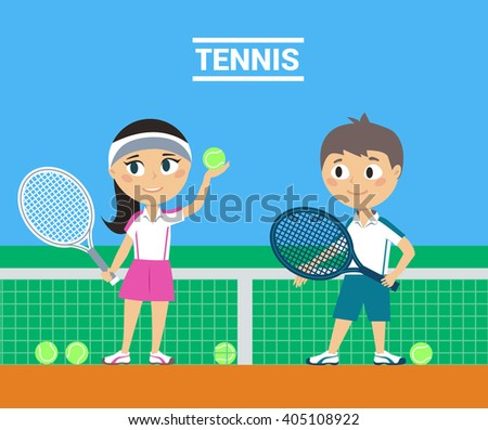 Young Tennis Players - stock vector
