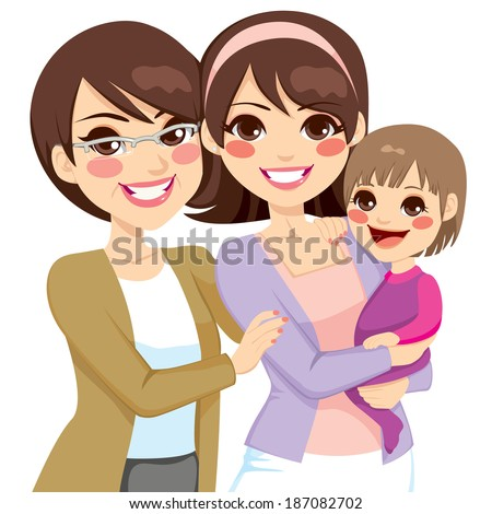 Young three generation family women happy smiling together - stock vector