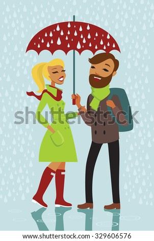 Young trendy couple standing under the rain with red umbrella - stock vector