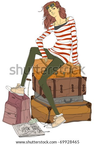 young trendy woman - stock vector