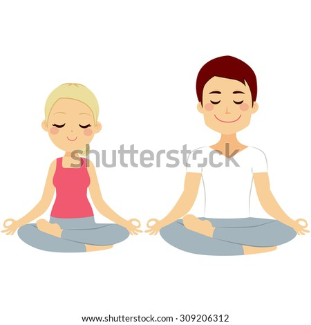 Young woman and man couple doing lotus pose yoga training isolated on white background - stock vector