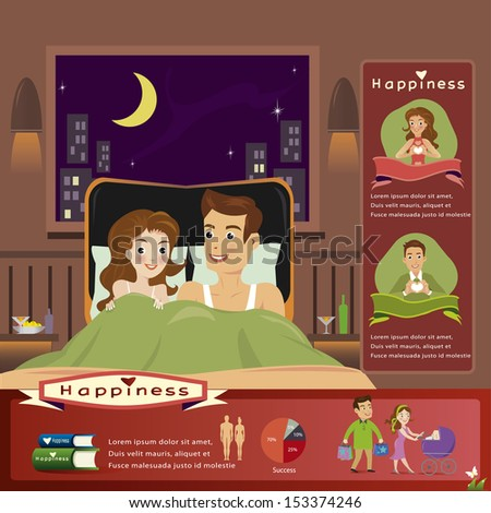 Young woman and man in bed.infographics - stock vector