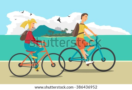 Young woman and man ride the bike on the beach. Healthy leisure and freedom riding bike. Woman and man with backpacks pedaling on summer time. Sea shore in summer time. Flat vector color illustration - stock vector