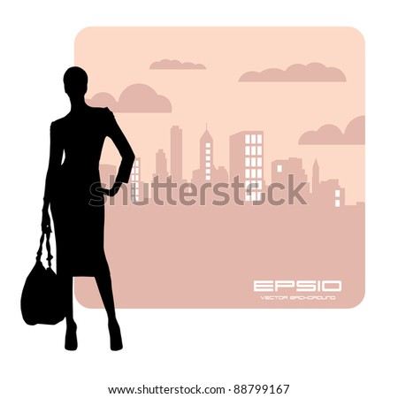 Young woman and the city - stock vector