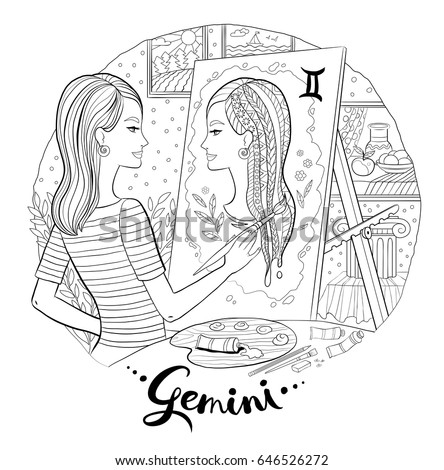 Young Woman Artist Easel Painting Self Stock Vector HD (Royalty Free ...