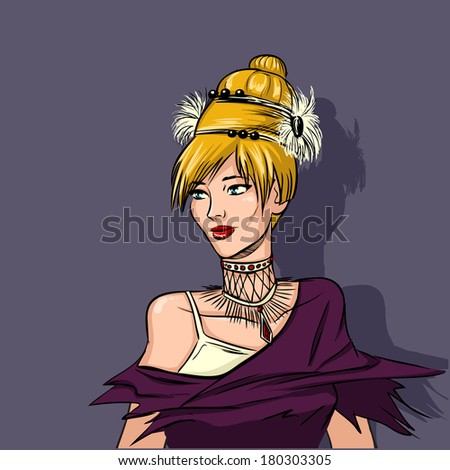 Young Woman Blonde Evening Dress Extravagant Stock Vector Royalty