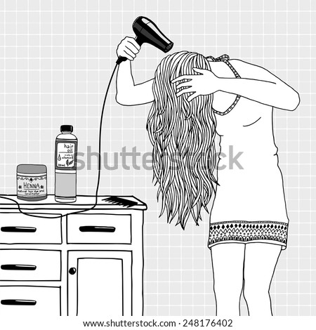 Young woman blow drying her hair - stock vector