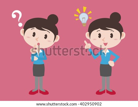 young woman character, posing question and inspiration, vector illustration - stock vector