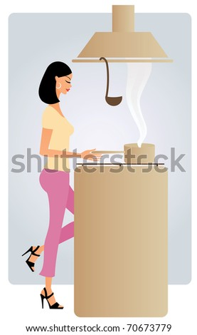 Young woman cooking - stock vector