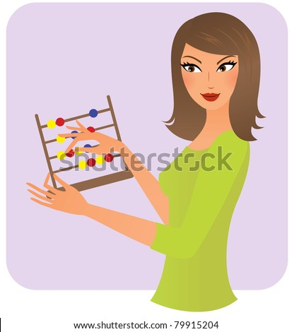 Young woman counting on abacus - stock vector