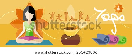 Young woman doing yoga. Yoga lotus pose. Sport concept in flat design style - stock vector