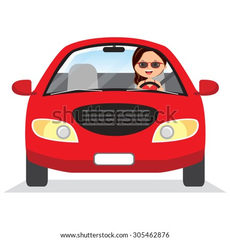 Young woman driving red car. Vector illustration of a cheerful woman driving on isolated background. - stock vector