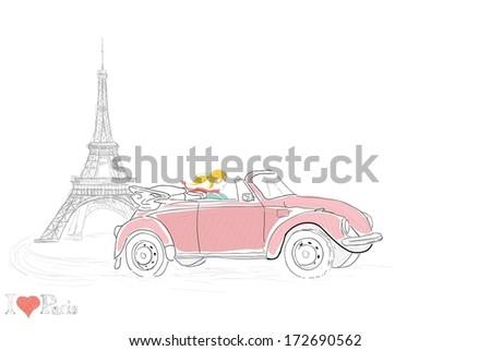 Young woman driving thru Paris - stock vector