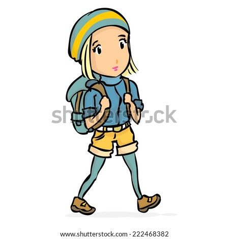 Young woman, girl tourist. Hand drawn cartoon colorful vector illustration. - stock vector