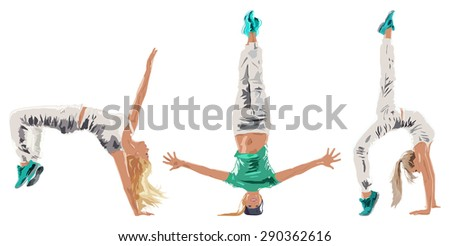 Young woman hip-hop dancer three poses on white background. - stock vector
