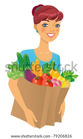 Young woman holding a grocery bag and smiling against white background