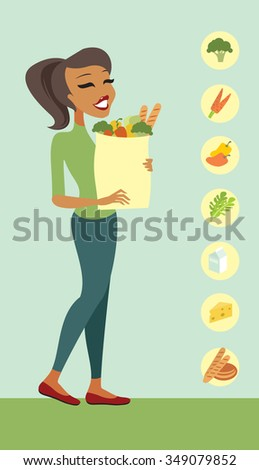 Young woman holding a shopping bag full of healthy food - stock vector