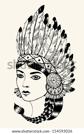 Young woman in costume of American Indian. Linear vector illustration of a beautiful American Indian woman with braided hair and native American indian chief headdress. - stock vector