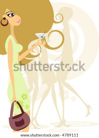 Young woman in nightclub - stock vector