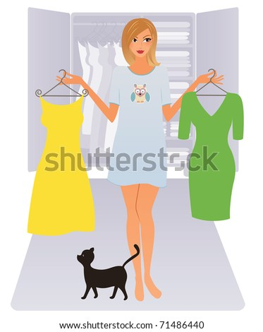 Young woman in shirt deciding what to wear - stock vector