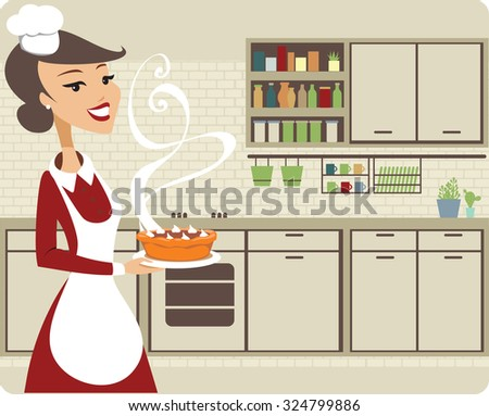 Young woman in the kitchen baking pumpkin pie - stock vector