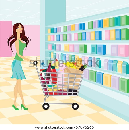 Young woman in the supermarket - stock vector