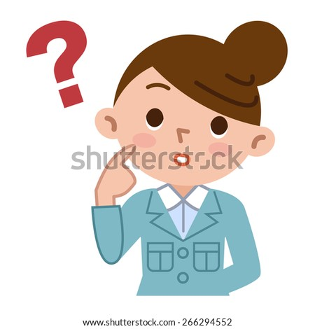 Young woman is thinking - stock vector