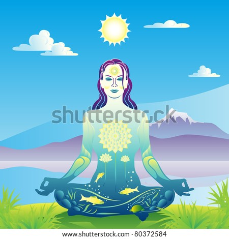 Young woman meditates by the lake and mountains vector illustration - stock vector