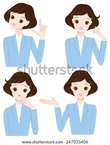 Young woman of facial expression and pose??? - stock vector