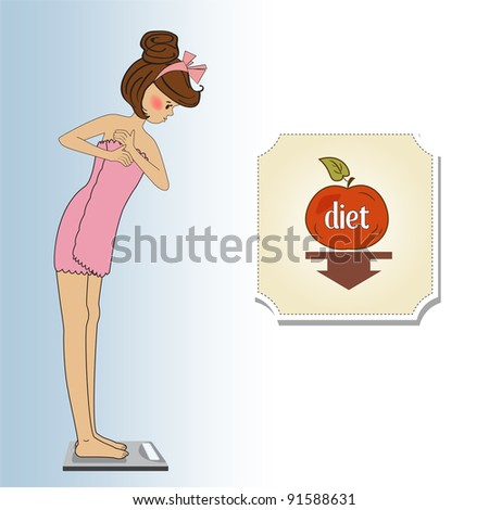 Young woman on scale - stock vector