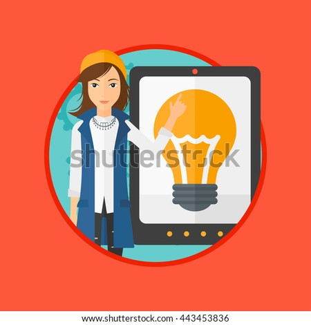 Young woman pointing at a big tablet computer. Woman standing near a big tablet computer with a light bulb on a screen. Vector flat design illustration in the circle isolated on background. - stock vector