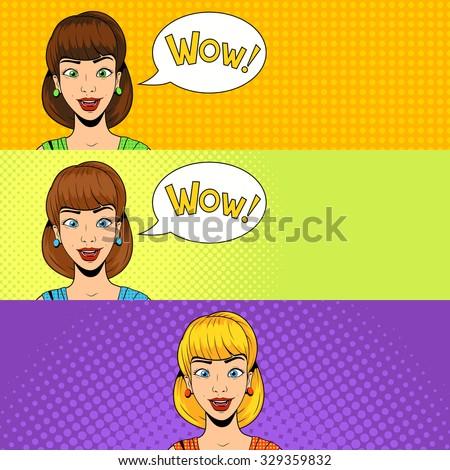 Young woman pop art banner vector illustration retro halftone pop art comics style - stock vector