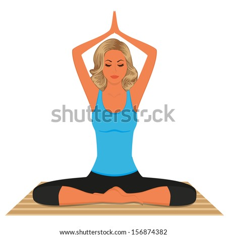 Young woman practicing yoga isolated on white