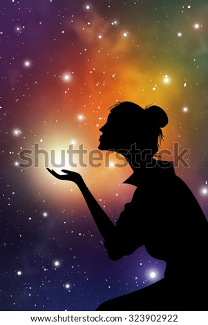 Young woman praying in front of sky and stars. Esoteric portrait of the woman on space background. - stock vector