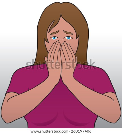 Young woman reacting to some bad news - stock vector