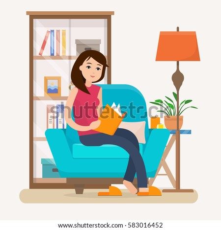 Woman Reading Clipart