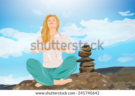 Young woman relaxing in mountains. EPS 10 format. - stock vector