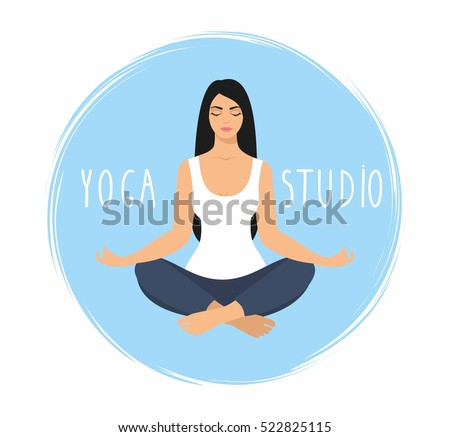 young woman sitting yoga lotus pose stock vector 522825115 shutterstock. Black Bedroom Furniture Sets. Home Design Ideas
