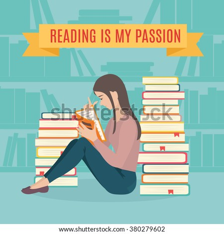 Young woman sitting read his favorite book . Education and school, study and literature. Flat young woman sitting in the library and reading a book. Vector illustration.  - stock vector
