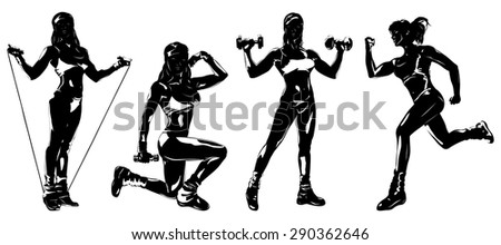 Young woman sports training four silhouettes on white background. - stock vector