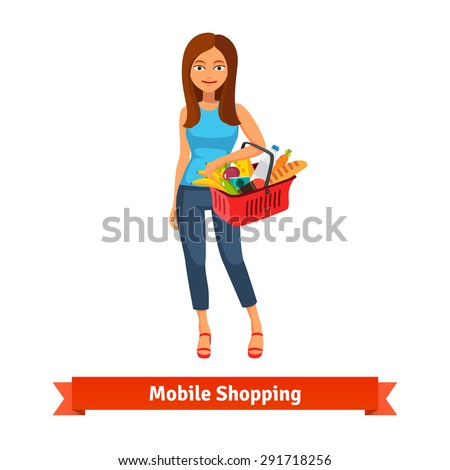 Young woman standing with plastic shopping basket full of groceries. Flat vector icon. - stock vector
