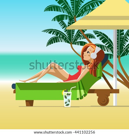 Young woman sunbathing on a beach. Girl with cocktail relaxing on a lounger under parasol on a tropical beach