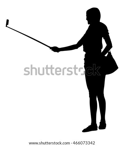 Young woman taking selfie picture vector silhouette illustration isolated on white background. hand hold monopod with mobile phone. Selfie teenagers tourists taking pictures.