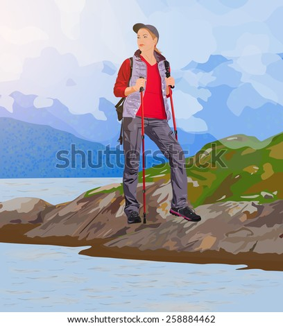 Young woman tourist standing on lake coast. EPS 10 format. - stock vector