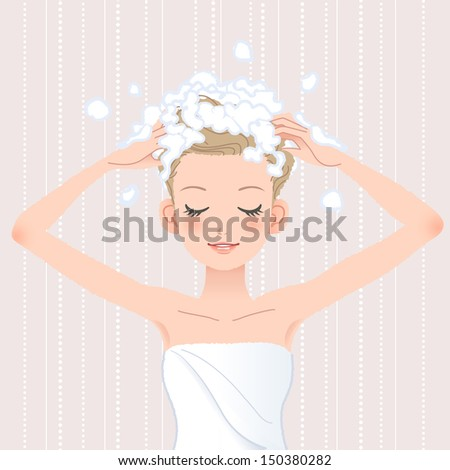 Young woman washing her head with shampoo in bathroom.File contains Gradients, Blending tool. - stock vector