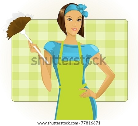 young woman with a duster - stock vector