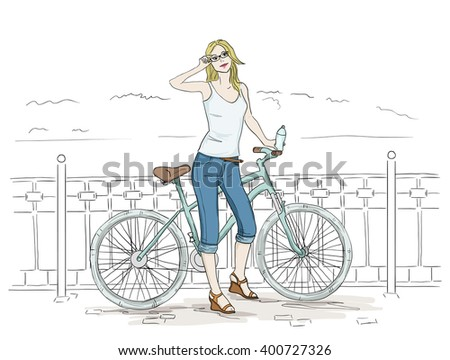 Young woman with bike line colored sketch. Attractive lady cyclist and mint bicycle. Pretty girl in blue jeans. - stock vector