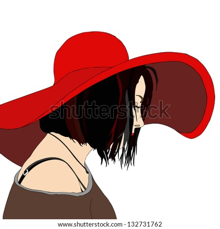 Young Woman with Hat - stock vector