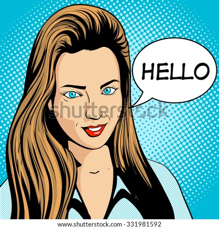 Young woman with long hair looking pop art retro vector illustration. Comic book style imitation - stock vector