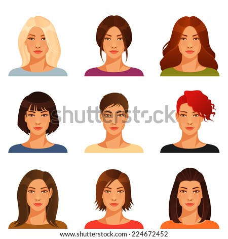 young woman with various hairstyle and color - stock vector